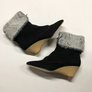 SJP Black Faux Fur Lined Suede Ankle Wedge Boot